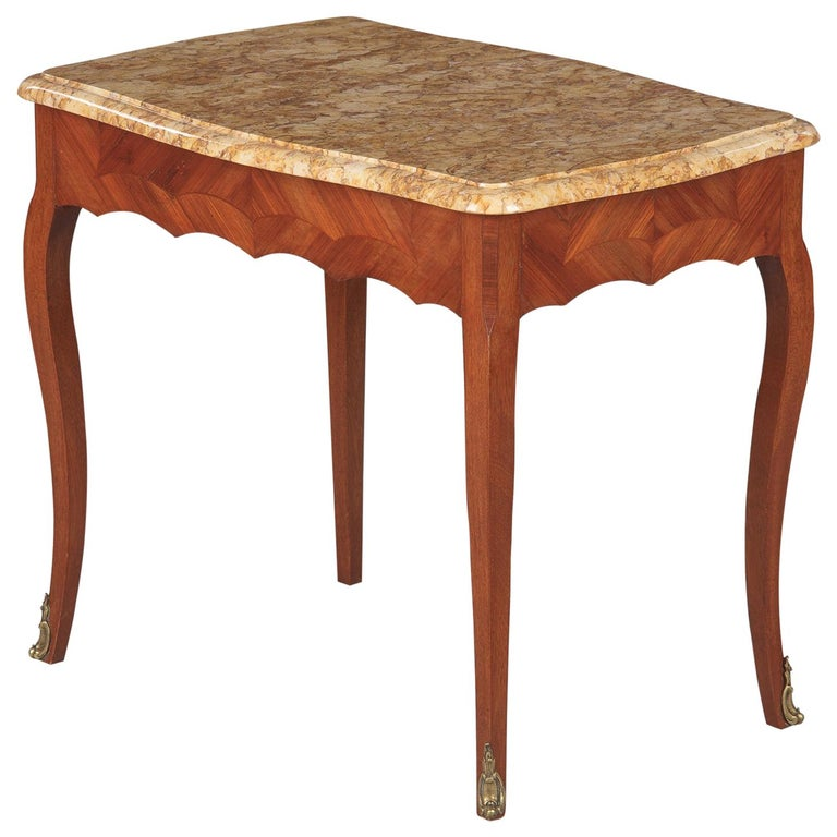 French Louis XV Style Marble Top Side Table, 1940s For Sale
