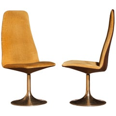 1970s, a Pair of Gold Velours and Brass Swivel Chairs by Johanson Design