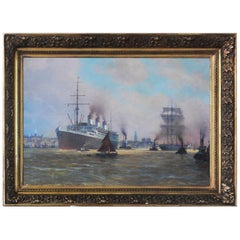 The Steamer Cap Arcona in the Port of Hamburg Oil Painting on Canvas