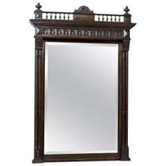 19th Century Pier Glass in an Eclectic, Oak Frame