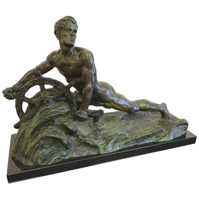 Art Deco Bronze Sculpture by Alexandre Ouline, France