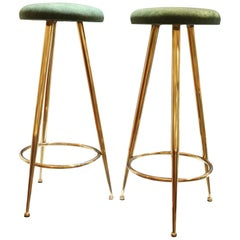 High Stools, Brass Legs, Green Velvet Seats