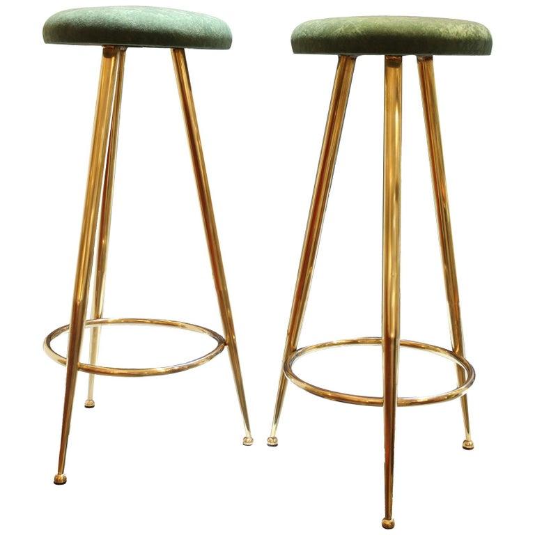 High Stools, Brass Legs, Green Velvet Seats