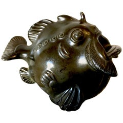 Small Bronze Patinated Grotesque Fish Sculpture by Just Andersen, Denmark