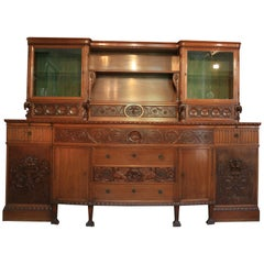 Large Historicism Style Pomp Buffet, Nutwood, Germany, circa 1920