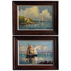 Pair of Oil on Canvas Russian by Schastliviy