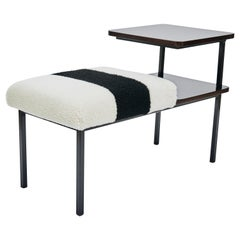 Deco Table Seat Lacquered Wood Side Table Combined Sheepskin Stool or Ottoman