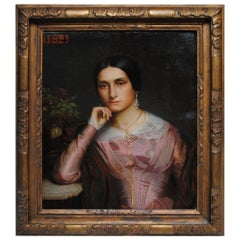 19th Century Oil on Canvas Portrait by AD Magaud