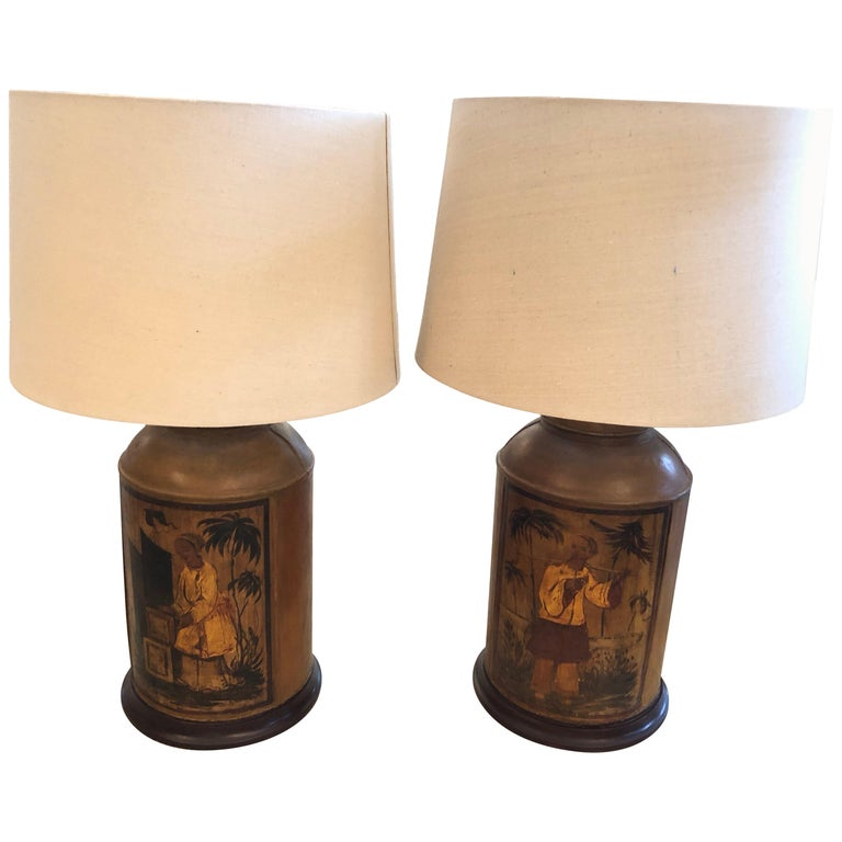 Pair of Chinese Antique Tea Cannistr Lamps For Sale