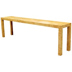 Mid-Century Modern Milo Baughman Burl Wood X-Long Console Sofa Entry Table 1970s