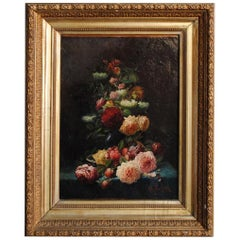 Late 19th Still Life Oil Painting Bouquet of Flowers by Arthur Faucheur