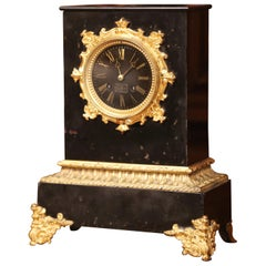 19th Century French Empire Black Marble and Bronze Mantel Clock Signed Gilbert