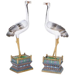 Large Pair of Chinese Cloisonne Cranes or Birds