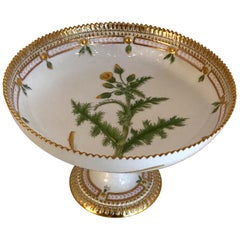 Wonderful Royal Copenhagen Flora Danica Sonchus Asper Vill Footed Pedestal Bowl