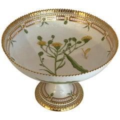 Fine Royal Copenhagen Flora Danica Hieracium Umbellatum L Footed Pedestal Bowl