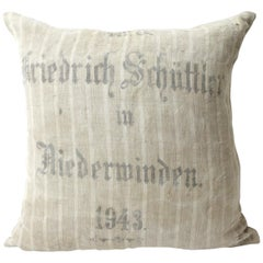 Original Antique Printed German Stripe Feed Sack Pillow
