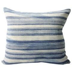 Antique Faded Blue Indigo Stripe African Mudcloth Pillow
