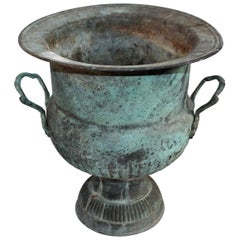 19th Century Urn with Handles in Patinated Copper Surface