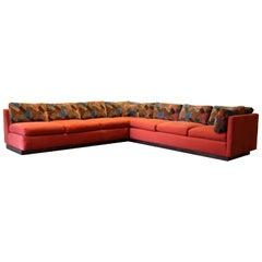 Mid-Century Modern Milo Baughman Sofa Sectional Wood Plinth Base Lenor Larsen