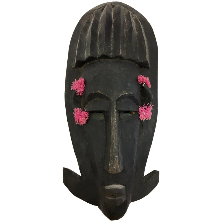 Mid-Century Modernist African Decorative Hanging Mask Sculpture from Mali