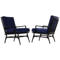 Set of Two Modernist Lacquered Lounge Chairs