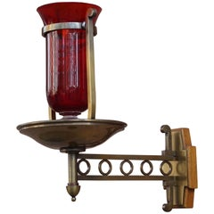 Handcrafted Brass with Cranberry Glass Vessel Art Deco Sanctuary Wall Lamp, 1920