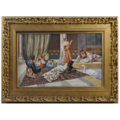 Large Orientalist Watercolor by Pietro Gabrini Depicting a Harem Scene