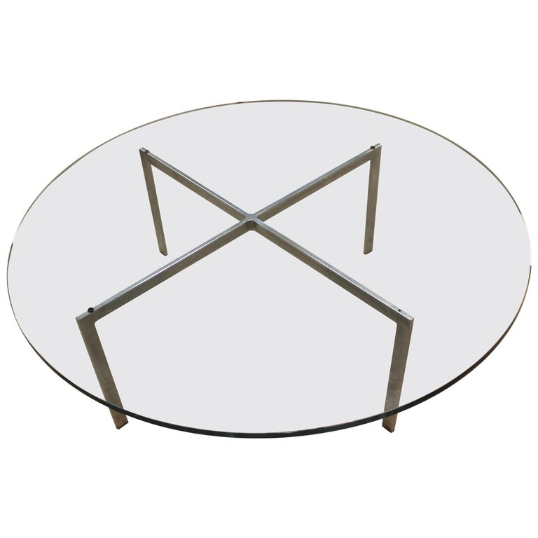 Mid-Century Modern Original Mies van der Rohe Round Barcelona Coffee Table