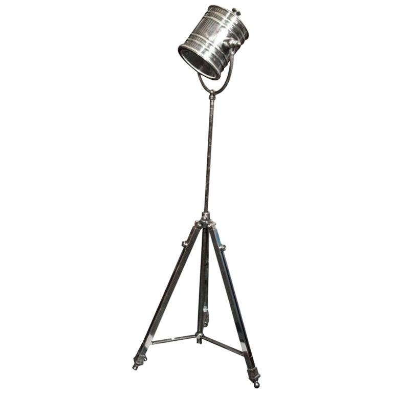 Industrial Metal Tripod Floor Lamp or Spotlight