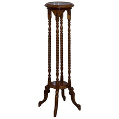 Rare Tall Fruitwood Torchere Barley Twist Pot Stand Nice Carved Wood Detailing