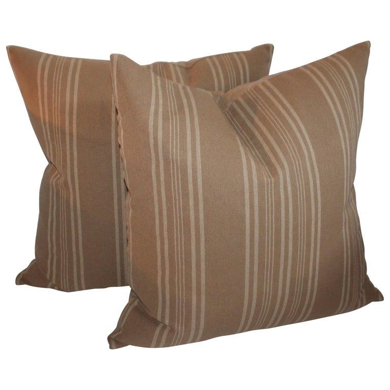 Vintage Ticking Pillows or Pair