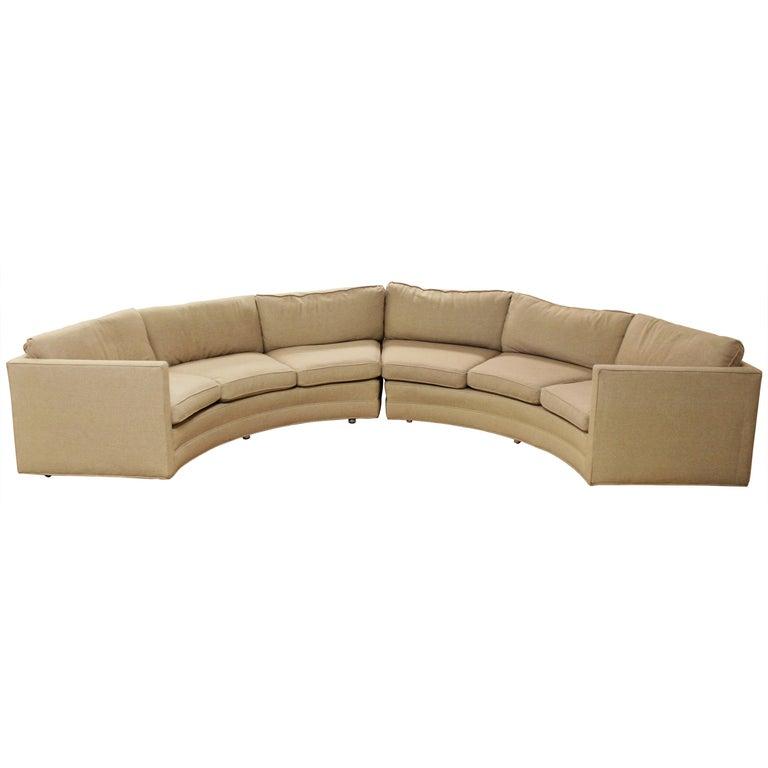 Mid-Century Modern Milo Baughman Beige Curved 2-Piece Sectional Sofa, 1970s