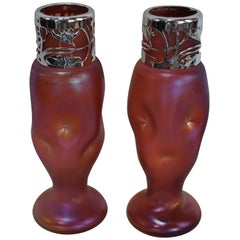 Pair of Loetz style Iridescent Art Glass Vase