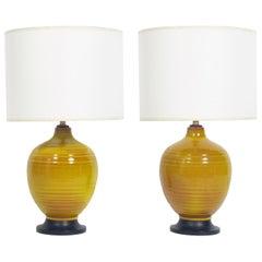 Pair of Petite Yellow Ceramic Lamps