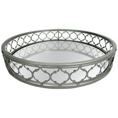 21st Century Round Decorative Mirrored Tray