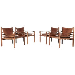 Rare Set of Four Arne Norell Safari Sirocco Chairs, Sweden, 1960s