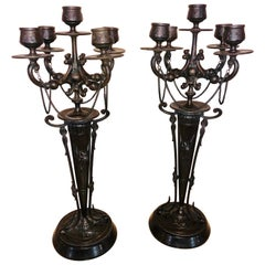 Pair of Empire 19th Century Bronze Candelabras Depicting Insects