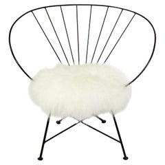 Sculptural Iron Lounge Chair in Faux Fur
