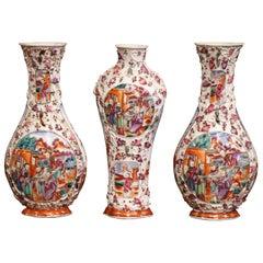 Mid-19th Century Chinese Mandarin Palette Porcelain Garniture Set