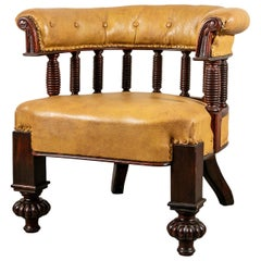 Antique Aesthetic Period Leather Library Chair