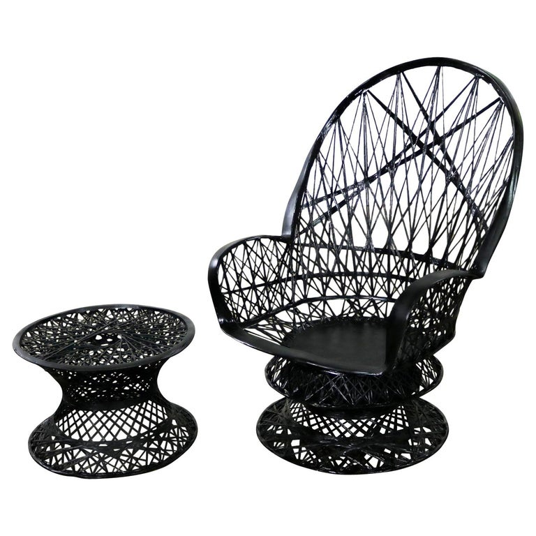 Russell Woodard Spun Fiberglass Lounge Chair and Ottoman or Side Table in Black