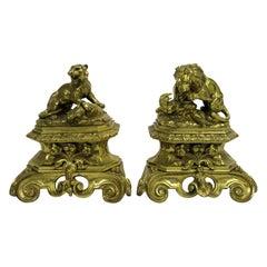 19th Century English Bronze Doré Andirons