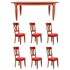 Baronet Solid Maple Dining Table Along with Six Coordinating Side Chairs