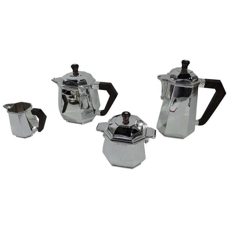 Stylish French Art Deco Modern Silver Coffee and Tea Set