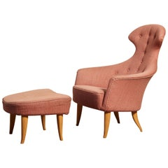 "Kerstin Horlin Holmquist ""Stora Eva"" Chair and Ottoman, 1950s-1960s, Sweden"