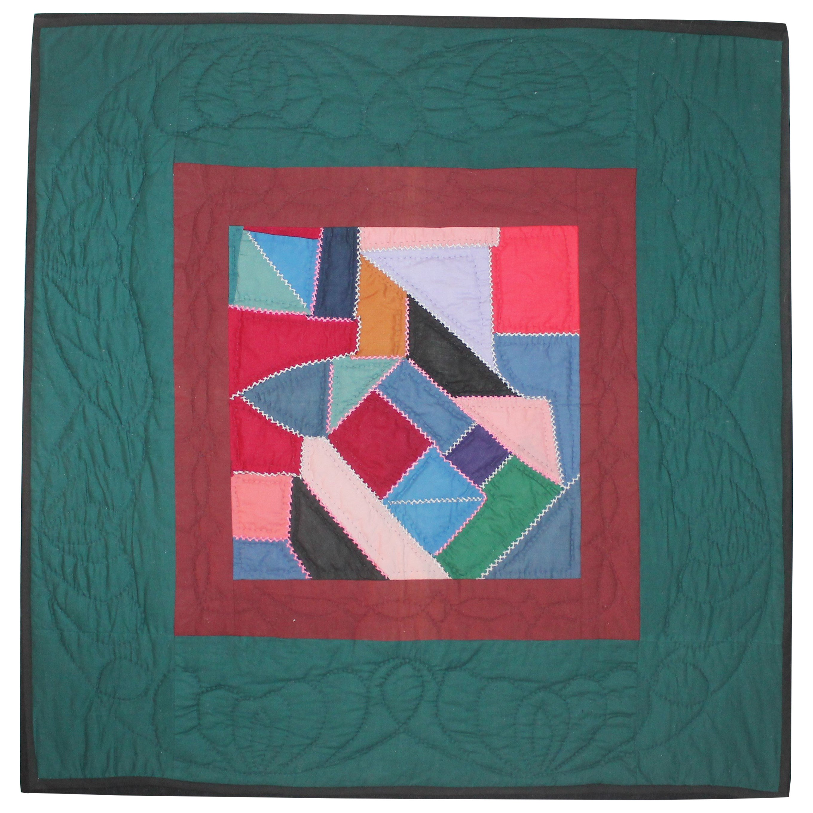 Antique Quilt, Amish Contained Crazy Crib Quilt Mounted