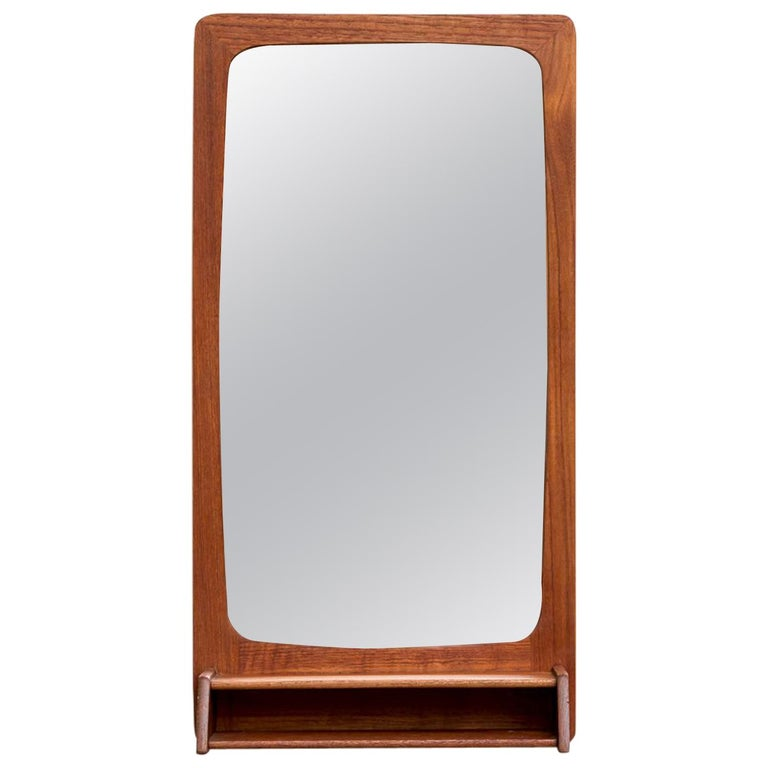 Midcentury Teak Wall Mount Butlers Mirror For Sale