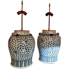 Two Large Chinese Table Lamps with Decor of Stylized Flowers and Dragons