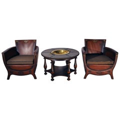Otto Schulz Lounge Chairs and Table with Original Leather, Sweden, 1930s