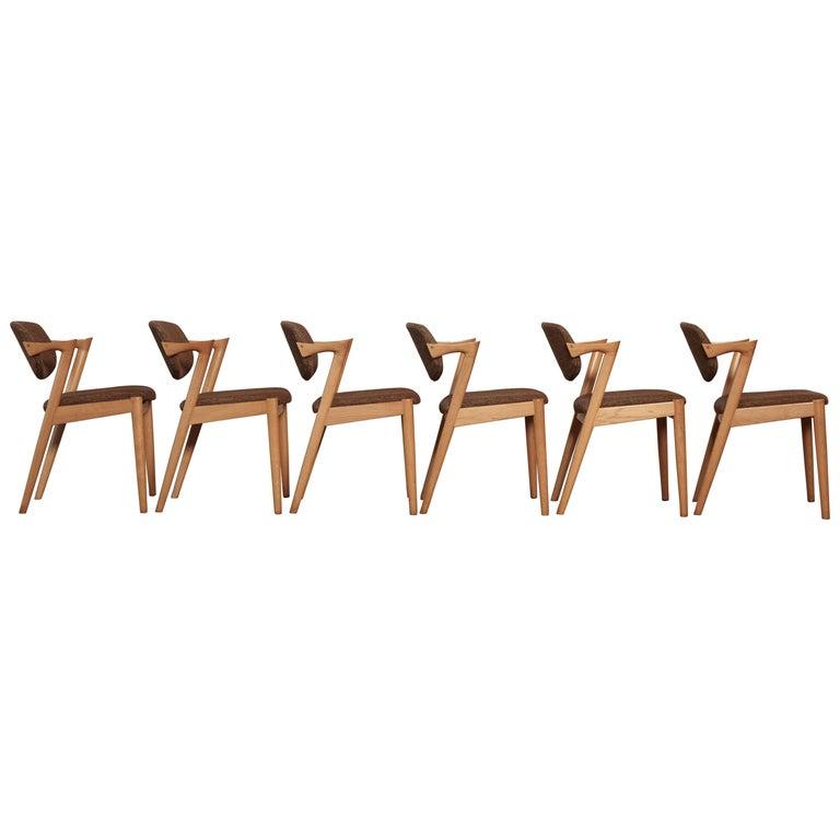 Set of Six Model 42 Oak Dining Chairs by Kai Kristiansen, Denmark, 1960s